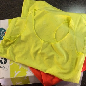 My cute brand new Oiselle shirt, fresh out of the box, right before my trail run.